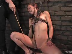 Delilah Knight gets beaten and amazingly mouth-fucked in BDSM clip
