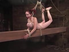 Mz Berlin the bound redhead slut gets her tits tortured