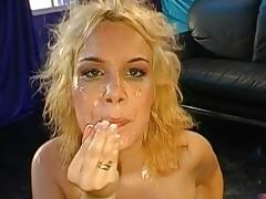 Busty blonde mom in the gangbang and bukkake scene