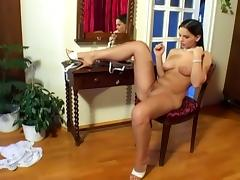 Eve angel masturbating her wet pussy in a hot solo tube porn video