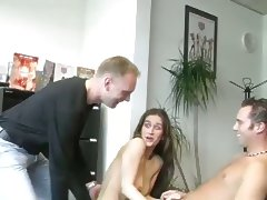Girl Strips For One Fucks With Three