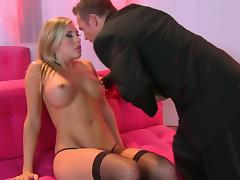 Superb Blonde With Big Tits Fucking In High Heels And Stockings