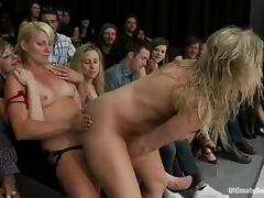 Horny blonde girls lick and toy their pussies in public tube porn video