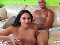 Huge breasted Missy Martinez gives a blowjob to Porno Dan