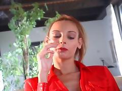 Nasty slut smoking while taking huge cock