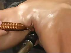 Precious blond gets hogtied and fucked by a machine