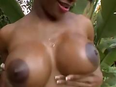 Sexy Young Busty Ebony Pumped By White Cock