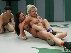 Brunette hotties play with each others pussies after a fight