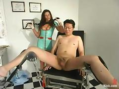 Dave gets spanked and tortured by dominant nurse Kym Wilde