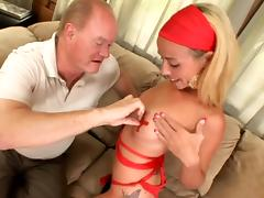 Petite Jayden Rose gets her feet and pussy licked by old dude