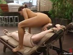Outdoor femdom session with a charming hun Isis Love