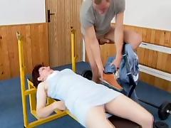 Claire gets mouth-fucked and enjoys multiposition banging on the floor