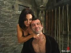 Sandra Romain puts Totaleurosex into fetters and makes him lick her vag