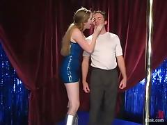 Sexy stripper gets him on stage, where she tortures him hard