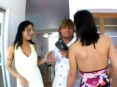 Two slutty brunette chicks get pounded by one man
