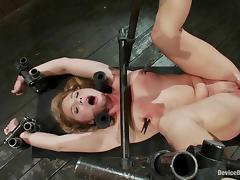 Aurora Snow gets her cunt and ass toyed hard in BDSM scene