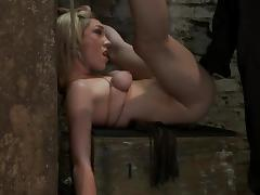 Sexy blond gives a sexy look to her master, when he painsults her