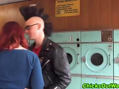 Real redhead gf licked and fingered in public