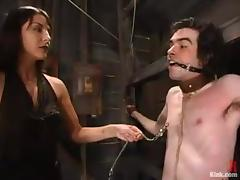 Horny chick suspends this skinny man and fucks him with a strapon tube porn video