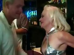 Blonde granny Kathy Jones jumps on a cock after rubbing it ardently tube porn video