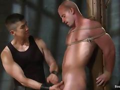 Two tied up dudes get clothespinned and fucked by a man