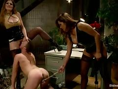 Brian Bonds gets his ass banged by Felony and her GF in BDSM video