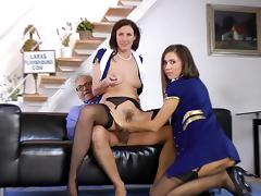 Old man Ananter fuck with skillful Lara Latex