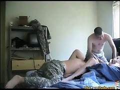 Army Guys Share A Chubby Nympho tube porn video