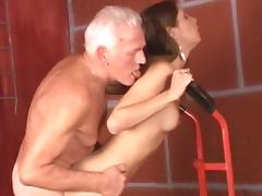 Small-tit chick Rachel is getting fucked by an oldie tube porn video