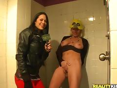 Girl Masturbates in the Bathroom and Brunette Goes Beyond Far