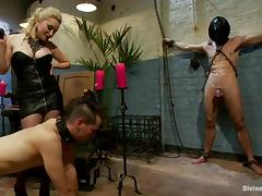 Nasty Aiden Starr whips and humiliates two guys