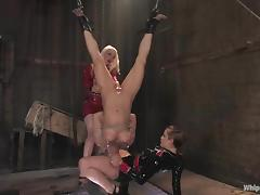 Busty girl gets spanked and dominated by two chicks