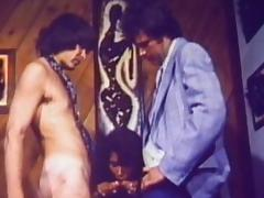 Retro scene with two guys and one chick