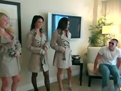 Three horny sluts are getting paid for a group sex