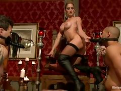 Sexy blonde mistress with big boobs humiliates two guys