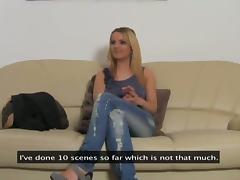 Casting, Blonde, Casting, Fingering, Jeans, Lesbian