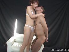 Yui Ooba gives a blowjob and a rimjob to some horny dude