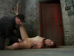 Lexi Brooks gets her shaved vag toyed to orgasm in a vault