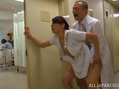 Horny nurse's fucked by a doctor in a hospital hallway tube porn video