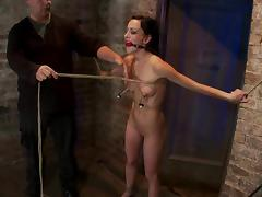 Gagged and tied up Elise Graves gets dominated by Isis Love