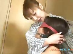 Hot Milf In a Kimono Dominating a Young Guy with oral