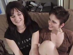 Two horny brunettes enjoy drilling each other's pussies with toys