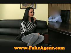 Smoking hot brunette babe gets naked and fucks that agent