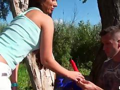 Sizzling Debbie White fucks a guy in a forest