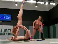 A bitch gets beaten and fucked by two lesbians on tatami tube porn video