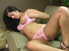 Long-haired brunette Sunny Leone shows her nice tits tube porn video