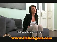 Nice brunette babe sucks and fucks the interviewer