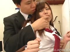 Japanese Girl in her School Uniform has Clothes Ripped and Pussy Fucked