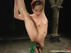 Flexible Pinky Lee gets her wet pussy toyed by a machine porn tube video
