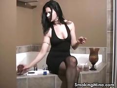 Babe, Babe, Brunette, Fetish, Pool, Smoking